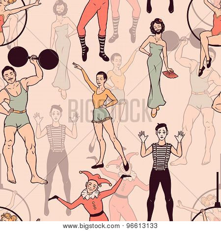 Seamless Pattern With Circus Performers. Vector Seamless Texture For Wallpapers, Pattern Fills, Web