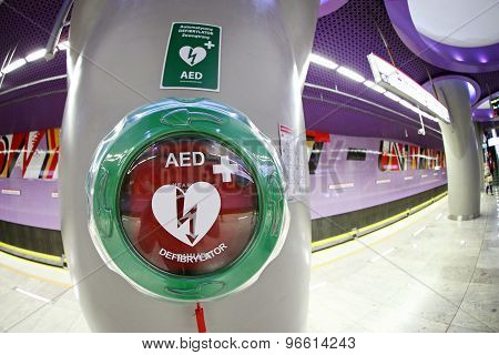 Automatic External Defibrillator At The Metro Station In Warsaw