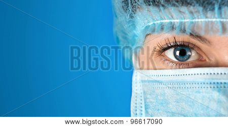 Surgeon Gazing Hospital Close Up Shot