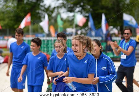MOSCOW, RUSSIA - JULY 19, 2015: Junior team Italy after the final match of the ITF Beach Tennis World Team Championship. Italy become world champion in this first Junior Championship