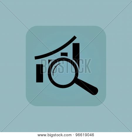 Image of bar graphic under loupe in square, on pale blue background poster