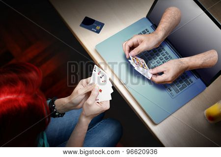 online poker player bet
