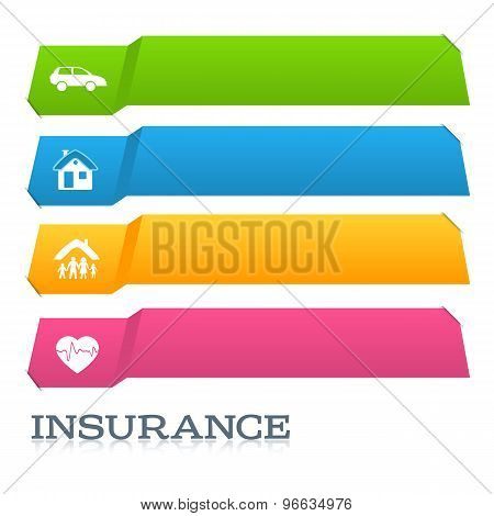 Insurance Horizontal Banner Page Title Cut Tabs Effect