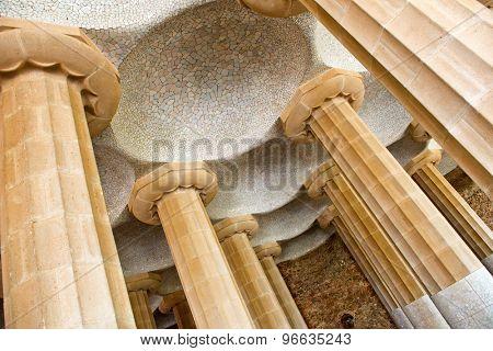 BARCELONA, SPAIN - MAY 02: Columns of Sala Hipostila, Park Guell ( UNESCO World Heritage Site), hill of El Carmel, Gracia (district), Barcelona, Catalonia, Spain on May 02, 2015