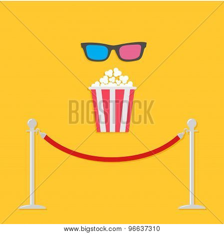 Red Rope Barrier Stanchions Turnstile 3D Glasses Big Popcorn Cinema Icon In Flat Design Style.