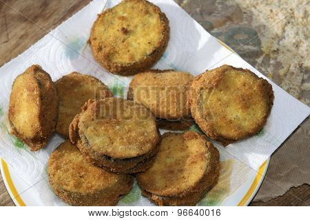 aubergines in a carriage or eggplants in carrozza fried eggplantase with filling of mozzarella poster