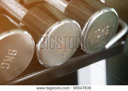 Rusty Steel Dumbells Closeup On 10 Kg One