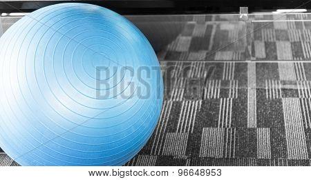Blue Big Fitness Ball Or Fitball Near Mirror Split Tone