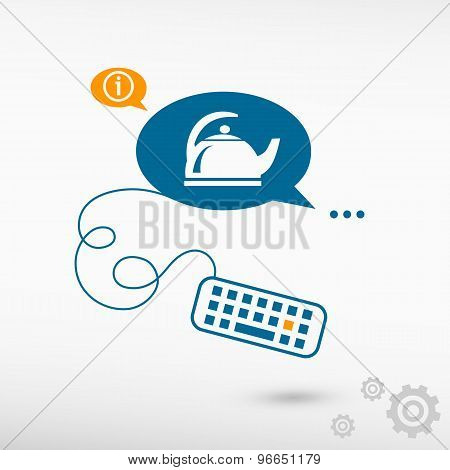 Tea Maker And Keyboard On Chat Speech Bubbles