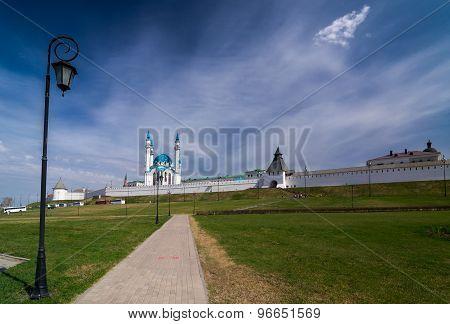 View of the Kul Sharif (Qolsherif, Kol Sharif, Qol Sharif) Mosque in Kazan Kremlin with lamppost on foreground. UNESCO World Heritage Site. Kazan, Tatarstan, Russia. poster