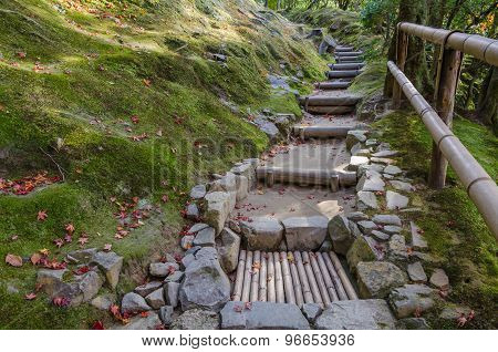 Japanese Style Garden In Kyoto Temple