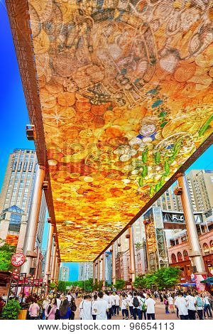 Beijing, China - May 20, 2015: Biggest Screen Of Lsd In The World Installed In Beijing, On The Jia N
