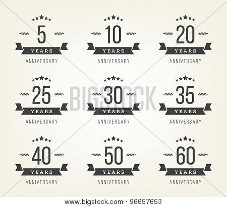 Vector set of anniversary signs, symbols. Five, ten, twenty, thirty, forty, fifty years jubilee design elements collection. Eps10 illustration. poster