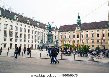 People At Hofburg, Innenhof, Monument Of Emperor Franz I, Vienna