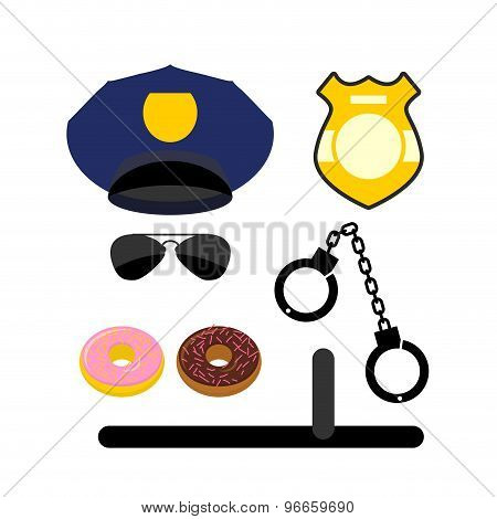 Police Set Icon. Police Uniforms And Handcuffs. Badge And Nightstick. Glasses And Donuts. Vector Ill