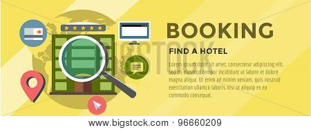 Booking Hotel. Travel infographic. Loupe, Building and Search. Vector stock illustration for design