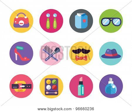 Clothes and fashion icons set. Shopping symbols. Interface elements. Stock vector illustration