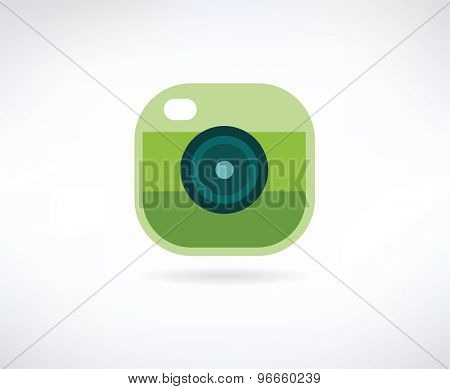 Photo app vector icon. Similar to instagram. Camera, lense and shot symbol. Stock design element.