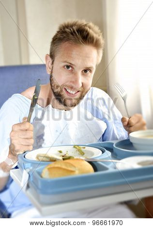 Man In Hospital Room Eating Healthy Diet Clinic Food In Happy Satisfied Face Expression
