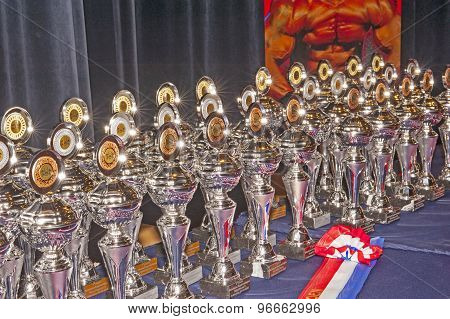 Table with prices and trophies of a Championship Bodybuilding and Fitness