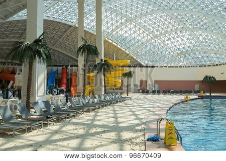 ESTOSADOK, RUSSIA - AUGUST 1,2014: pool and water slides in Gorky Mall