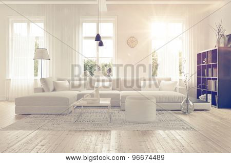 Modern spacious lounge or living room interior with monochromatic white furniture and decor below three tall bright windows with a dark bookcase accent in the corner. 3d Rendering.
