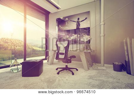Modern Architectural Interior Design with Worktable and Chair Decorated with Artwork on the Wall with Overlooking View From Glass Windows. 3d Rendering.