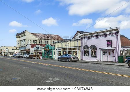 Victorian Storefronts In Ferndale, Usa