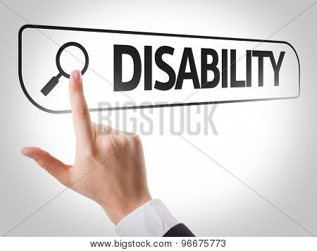 Disability written in search bar on virtual screen