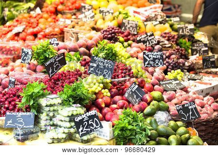 Fruits and vegetables at a farmers market. Borough Market in London UK. poster