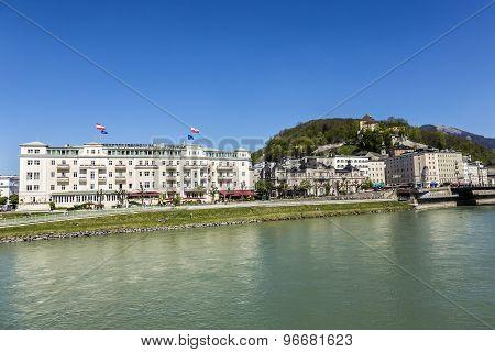 Hotel Sacher At Salzach River In Salzburg