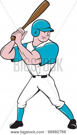 Baseball Player Batting Stance Isolated Cartoon