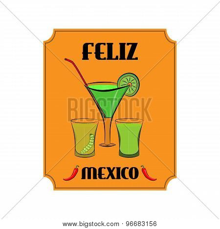 Mexico Poster With Alcohol Drinks In Glasses And Red Pepper On Orange Background