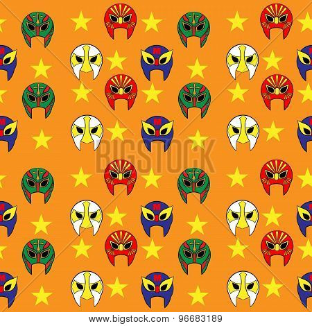 Mexican Wrestler Mask  Pattern On Orange Background