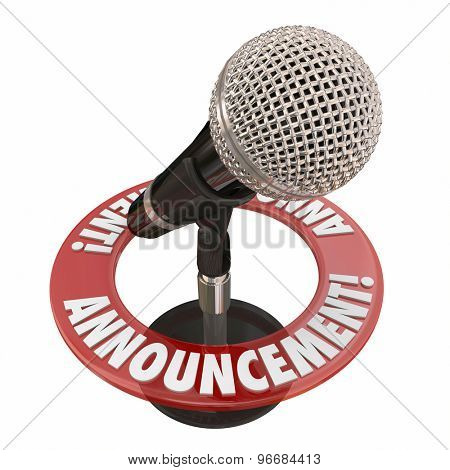 Announcement word microphone for important news alert, speech or address to a public audience