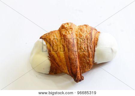 White Chocolat Croissant Isolated On White