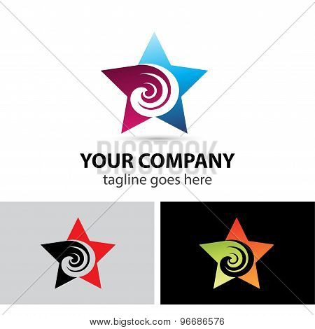 Abstract star icon swirl logo