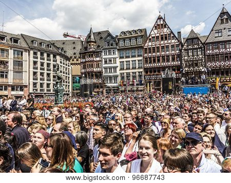 People Wait For The Queen Elizabeth Ii At The Roemer Market Square