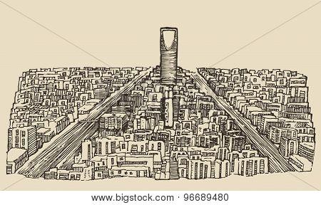 Riyadh skyline engraved vector hand drawn sketch