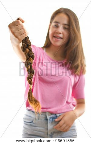 Teenage Girl Donating Her Hair To Cancer Patients