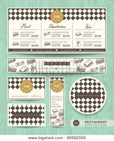 Restaurant Cafe Sandwich Menu Design Template