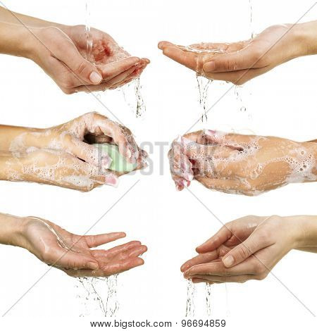 Collage of washing hands isolated on white