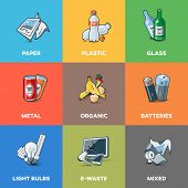 Illustration of trash categories with organic paper plastic glass metal e-waste batteries light bulbs and mixed waste. Waste types segregation recycling management concept. poster