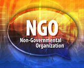 word speech bubble illustration of business acronym term NGO Non-Governmental Organization poster