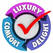 Luxury Comfort and Delight arrows and check mark to illustrate a product, service or amenities that are lush, fancy, expensive or exclusive poster