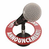 Announcement word microphone for important news alert, speech or address to a public audience poster