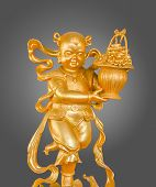 Gold Children God of Wealth or prosperity (Cai Shen) statue. poster