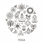 Set of outline yoga monograms and logos. Abstract yoga design elements, icons and badges.