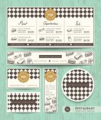 Restaurant cafe sandwich vector menu design template with diamond harlequin pattern background poster
