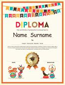 Preschool Elementary school Kids Diploma certificate template with bunting flags background design poster